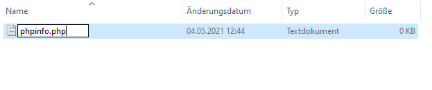 Die Datei wird umbenannt in phpinfo.php